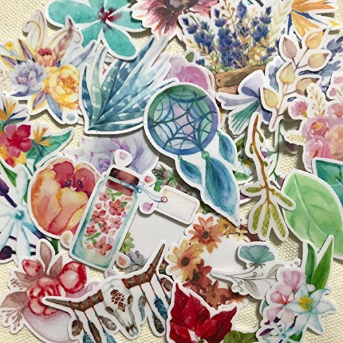 Pegatinas Decorativas | Pegatinas Florales Jardín Cazador de Sueños | Vinilos decorativos impermeables | 37 Stickers de Plantas | Pegatinas para Portátil Botella Álbum | Regalos para niños y adultos