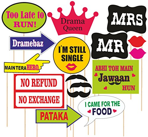 SYGA-Party-Props-Marriage-or-Party-Theme-Paper-Craft-Item-Multi-Colour-Set-of-16