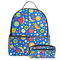 FOLPPLY Colorful Summer Fruits School Bag Casual Daypack Student Backpack with Pencil Case for Girls Boys