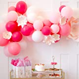 PuTwo Rose Blanc Ballon, 100pcs 12 Pouces Rose Pale Ballon Baudruche Fuchsia Magenta Ballons Latex pour Kit Anniversaire Ballerine, Decoration 16 Ans, Deco Baby Shower Fille, Barbie Happy Birthday