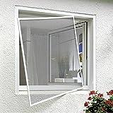 Xclou Fliegengitter Fenster mit hochwertigem Aluminium Rahmen, zuverlässiger Schutz gegen Fliegen und Mücken, Gitter ist individeull kürzbar, Moskitogitter aus hochwertigem Textilene, ca. 120 x 130 cm