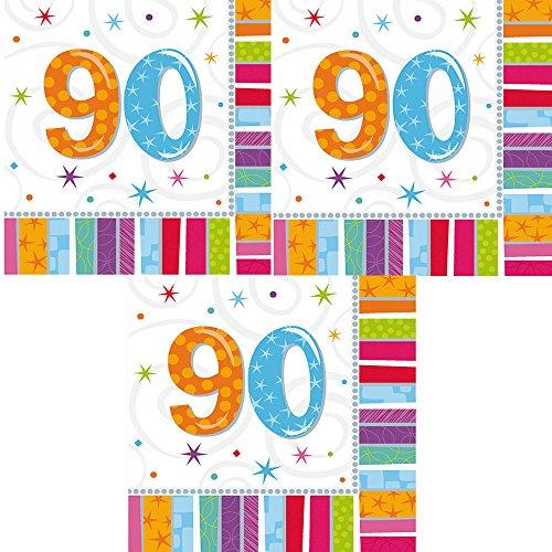(berlin-ballons 3er Pack Servietten 48 Stück Zahl 90 Zum Geburtstag Radiant)