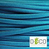 Cavo elettrico tondo rotondo rivestito in tessuto colorato Azzurro Turchese 10 metri 2x0,75 per lampadari, lampade, abat jour, design. Made in Italy!