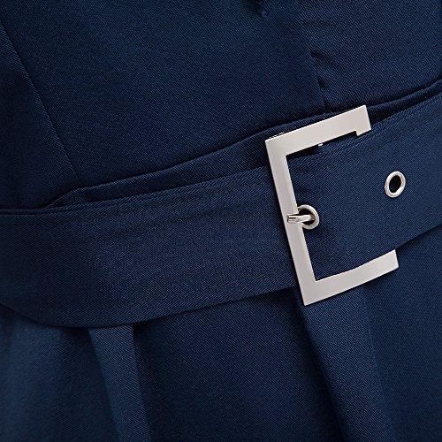 Vestiti Vintage e Elegante Gonna Cintura donna Bottoni con risvolto Abito senza maniche Abiti Da Sera Casuale Del Partito A-type dress Casual retro Cadetblue