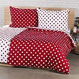 4Home Baumwolle Bettwäsche Roter Punkt, Red/Weiß 200 x 140 cm 2-Einheiten