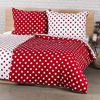 IKEA STENKLÖVER weiß rot gepunktet Bettwäscheset 2 teilig