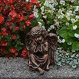 Liebevolle Engel Figur Farbe bronze aus Steinguss Gartenfigur frostfest Grabdeko Raumdeko