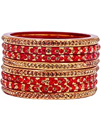 Dulari Stone Embellished Red Lac Round Bangles For Women (Set Of 8 Bangles)