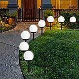 FLOWood Solar Gartenleuchte wasserdicht Solarlampe für Garten Außen LED Kugel mit Erdspieß Kunststoff ∅10 x L33 cm 8 Stück