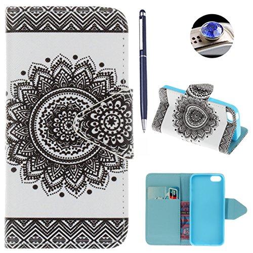 iPhone SE hülle iPhone 5 hülle iPhone 5S hülle ,AyiHuan Painted Muster PU Leder Folio Magnetverschluss Flip Case Wallet mit Kartenfach und Standfunktion für Apple iPhone SE / 5S / 5,L3 L5