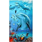 Große Strandtücher Badetuch Schnell Trocknend Wasseraufnahme Extra Microfiber,Pferde,Delphin, Hawaii-Motiv 100 x180CM,Mehrfar