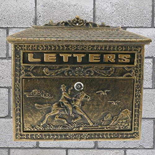 PrimeMatik – Briefkasten Postkasten Retro Antik Vintage Gusseisen Schwarze Oxid für wallmount Pferd - 3