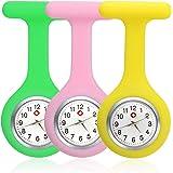 3 pezzi Orologio per Infermieri in Silicone, Infermieri Gel Silicone Plastic Fob Watch, Orologio da Infermiera con Spilla, Ta