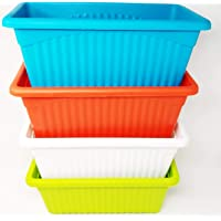 OSHIGREENS Plastic Plastic Rectangular Flower pots Multicolour ,14 x 35 x 18 cm, 4 Pieces