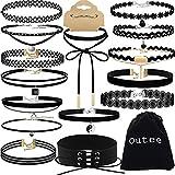 Choker Set, Outee 15 PCS Womens Choker Necklace Set Black Velvet Lace Tattoo Choker Set Girls Stretch Necklace