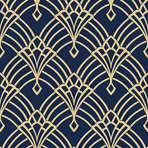 Waldorf Deco Tapete Navy/Gold World of Wallpaper 274447