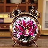 Wecker, Retro Portable Twin Bell neben Wecker mit Nachtlicht 459. Lilie Blume schließen Pflanze Blüte blühen lila Punkte