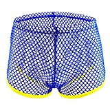 POIUDE Clearance Männer Unterwäsche Boxershorts Sexy Pure Color Mesh Slips Heroes Hosen Retro Unterhosen Strings Sets(Blau, Medium)