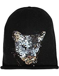 Head Hunter Beanie Black Cashmere and Sequin Panther Head