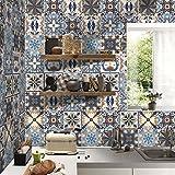 RAIN QUEEN 10cm X 10cm X 5M Maroc Carrelage Sticker Autocollant film Adhesif Mural Imperméable Décoration Cuisine Salle de bain No.1 48Pcs