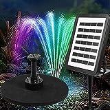 Qulista 1.5W Solar Teichpumpe mit LED-Beleuchtung, 105 cm Förderhöhe, 7v 180 l/h Wasserpumpe, Solar Springbrunnen für Garten Teich 19 x 15 cm