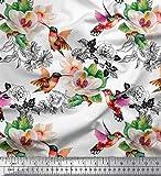 Soimoi Weiß schwere Leinwand Stoff Kolibri, Laub &