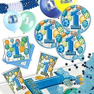 Blaues Partydeko Set für 1. Kindergeburtstag Jungen, für bis zu 8 Gäste, 43 teiliges Dekoset für Tischdeko inklusive Partygeschirr,Dekorationsset 1.Geburtstag