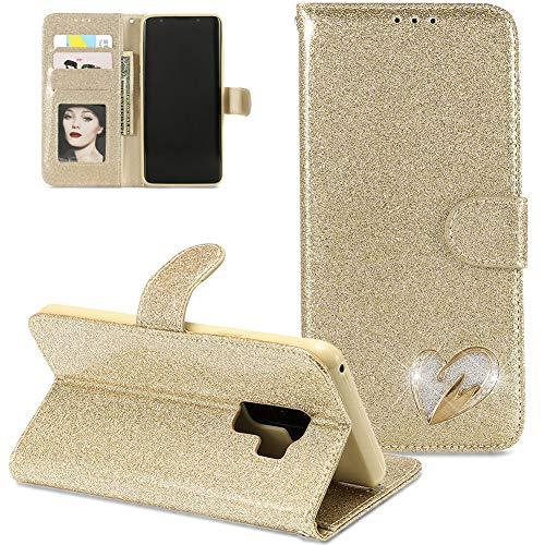 FNBK Kompatibel mit Hülle Samsung Galaxy S9 Plus Handyhülle Gold Handytasche Glitzer Liebe Herz Diamond Ledertasche Schutzhülle Wallet Flip Case Tasche Kartenfächer Stand Magnetverschluß Klapphülle
