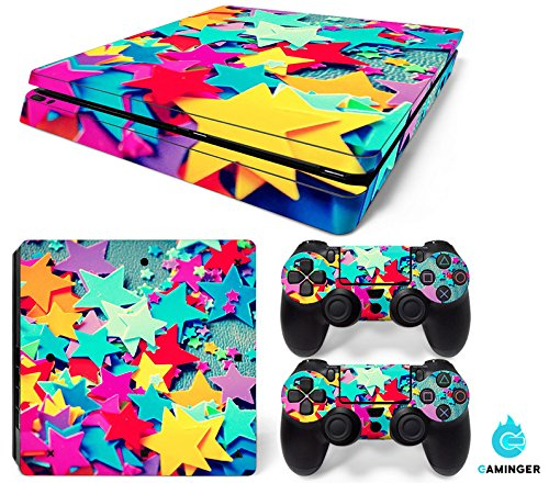 Gaminger Playstation 4 Slim - Kit de Skins (Fundas Adhesivas) para Consola + 2 mandos de Control - Stars