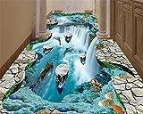 Malilove Traum Wand Papier Klippen Schwimmende Inseln Wasserfälle Vögel Bäder Küchen Gehwege 3D-Bodenbeläge Bilder Wallpaper200X140CM