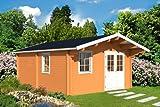 Gartenhaus GOTLAND E 70 Blockhaus 440x595cm + 100cm Vordach Holzhaus 70mm