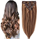 10'-22' Double Weft Extensions a Clip en Cheveux Naturels Maxi Volume - 100% Remy Hair - 8 Pcs Clip in Human Hair Extensions (#4+27 Marron Chocolat Méché Blond Foncé, 35cm-120g)