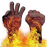 Dibikou Grillhandschuhe, 800℃ überragende hitzebeständige Ofenhandschuhe zum Grillen, BBQ, Kochen, Braten,Backen mit Anti-Rutsch-Design für Hände und Unterarmschutz