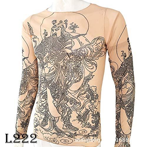 Musik Theater Kostüm - tzxdbh Tattoo Tattoo Langarm T-Shirt Damen Fan Digitaldruck Boden Shirt Musik Festival Kostüm L222 关羽 170CM-182CM 60KG-110KG