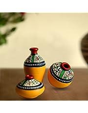 ExclusiveLane Terracotta Warli Hand-Painted Home Decorative Miniature Small Pots Set (9.4 cm x 9.4 cm x 8.9 cm, Yellow, Set of 3 Mini Pots)