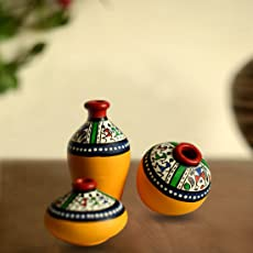 ExclusiveLane Terracotta Warli Hand-Painted Home Decorative Miniature Small Pots Set (9.4 cm x 9.4 cm x 8.9 cm, Yellow, Set of 3 Mini Pots)