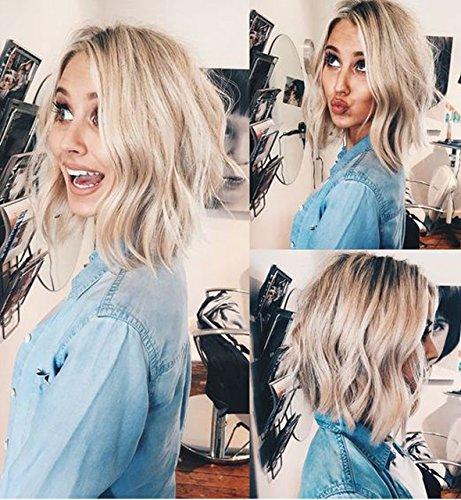 Vébonnie Blonde Kurze Bob welliges Haar Perücken braune Wurzeln 12 '' (Braune Kurze Haare Perücke)