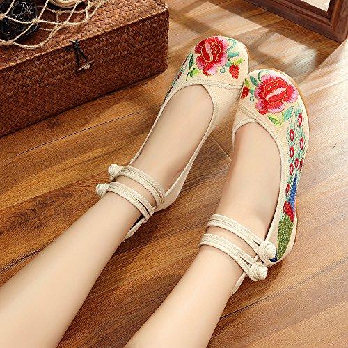 Des Chaussures Broderie Chaussures Rouge DÉté Le Pareilles Des De Gamme Du Beijing Danse Vêtements Haut KHSKX Traditionnelle Féminin Paon Queue À Chaussures Vieux Chaussures green FnfpnaqX1