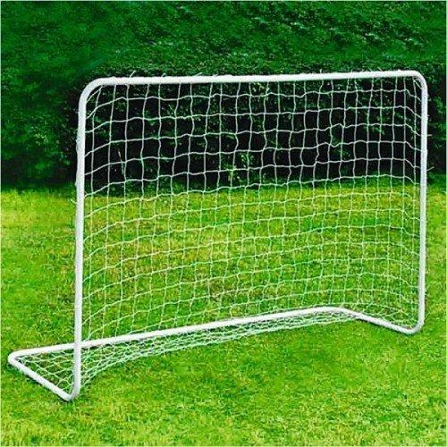 BURI Alu-Fussballtor mit Netz 182x122cm mit Befestigung Garten Kicker Steckverbindung