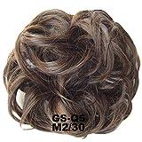 PrettyWit Haarteile kurze lockige Haarverlängerung chaotisch Haarknoten Hochsteckfrisur Donut Haar Chignons Haar Stück Perücke Haargummi Braut (dunkelste Brown & Light Auburn M2/30)