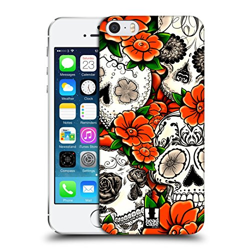 Head Case Designs Violetto Teschi Floreali Cover Retro Rigida per Apple iPhone 7 Plus / 8 Plus Arancione
