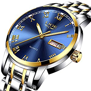 Mens Watches Fashion Simple Waterproof 30M Quartz Sports Watch,Blue Dial Stainless Steel Wrist Watch Auto Day Date…