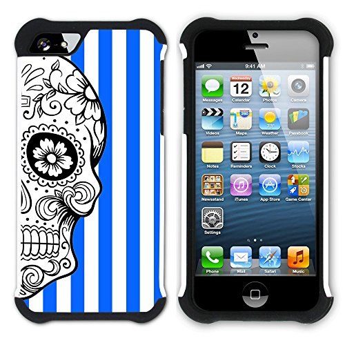 Graphic4You Mexikanische Zuckerschädel Tod Streifenmuster (Wasserblau) Hart + Weiche Kratzfeste Hülle Case Schale Tasche Schutzhülle für Apple iPhone SE / 5 / 5S Königsblau