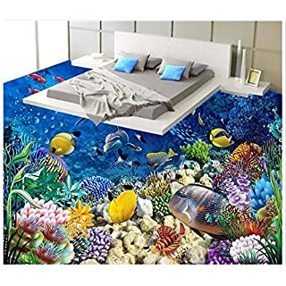 Wolipos 3D Wandmalerei Wand-Aufkleber Tapete Wandtattoo Bodenbelag Malerei Unterwasser Delphin Hintergrund Bodenfliese Des Bodens Hd Dekoration 150Cmx100Cm