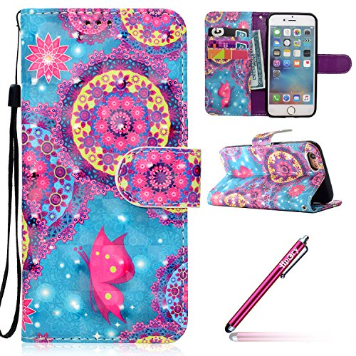 Etui Housse Coque pour iPhone 7/iPhone 8,PU Leather Case for iPhone 7/iPhone 8,Hpory élégant Fashion 3D Design Colorful Painted with Lanyard PU Cuir Case Book Style Folio Stand Fonction Support PU Lea Papillon