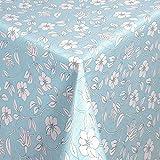 WACHSTUCH Tischdecken Gartentischdecke mit Fleecerücken Pflegeleicht Schmutzabweisend Abwaschbar Outdoor Weiße Blumen Blau (01398-06) 150x140 cm - Größe individuell wählbar