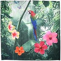 Zerodis Cortina de La Ducha 180x200cm, Cortina con 12 Ganchos de Cortina para el Baño con 12 Ganchos Resistente al Moho e Impermeable Accesorio de la Sala de Estar (Flower Birds)