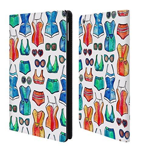 Preisvergleich Produktbild Offizielle Micklyn Le Feuvre Badeanzug Und Sonnenbrille Weiss Sommermuster Brieftasche Handyhülle aus Leder für Apple iPad mini 4