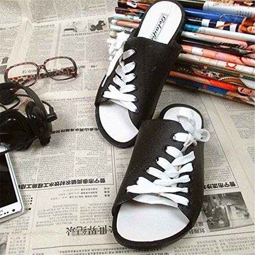 Fortuning's JDS Causales sandales d'été de conception de shoelace uniques pour hommes femmes Noir