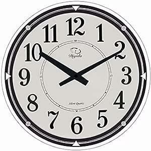 SMC 17 Pouces Moderne Non Coquille Silencieux Silencieux Analogique Num/érique Ultra Mince Horloge Murale en Verre Rond